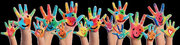 Footer Background Bild: farbig bemalte Hände